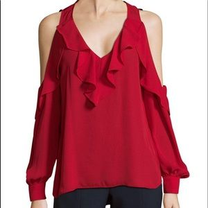 Parker Red Cold Shoulder Blouse